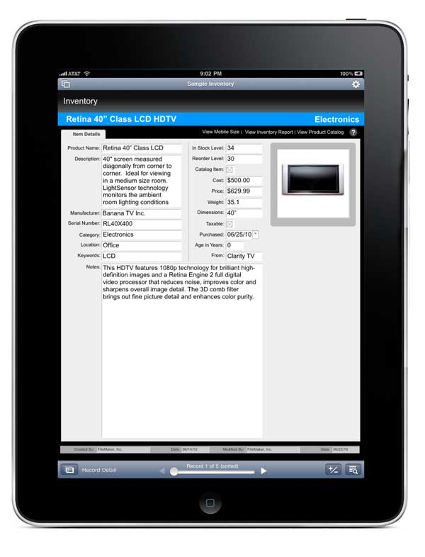 FileMaker Go for iPad