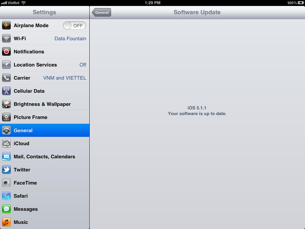 Sau khi thiết bị khởi động vào màn hình Home. Bạn vào lại mục Software Update để biết thiết bị của mình đã được cập nhật.