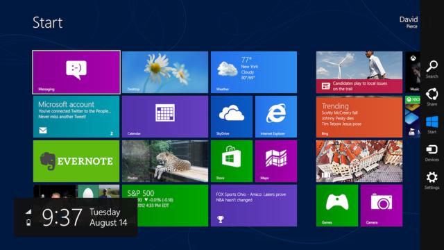 Người dùng phải click vào cạnh cuối bên trái để vào màn hình Start