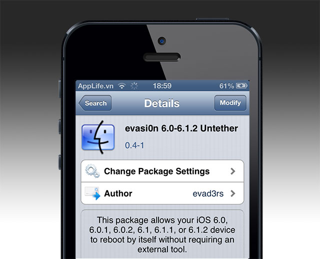 evasi0n 1.5 untether jailbreak iOS 6.0/6.0.1/6.1/6.1.1/6.1.2