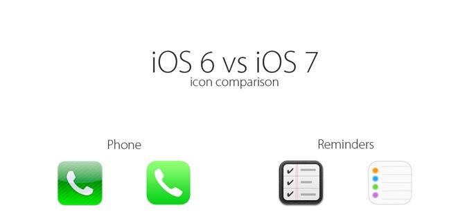 biểu tượng iOS 6 v.s iOS 7, bạn thích cái nào hơn?