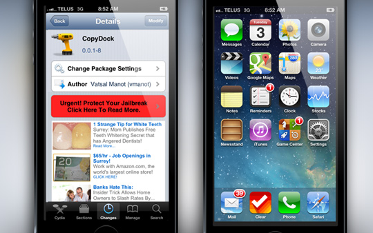 CopyDock mang thanh dock iOS 7 lên iOS 6