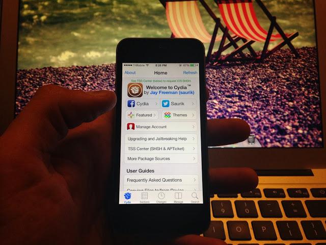 Ảnh chụp Cydia chạy trên iPhone 5 dùng iOS 7