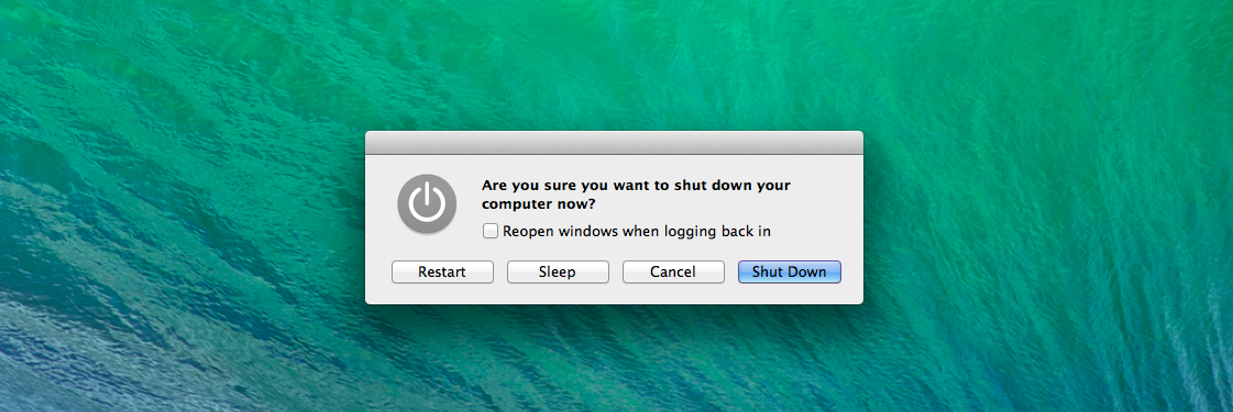 Nút tùy chọn tắt máy trên OS X Mavericks