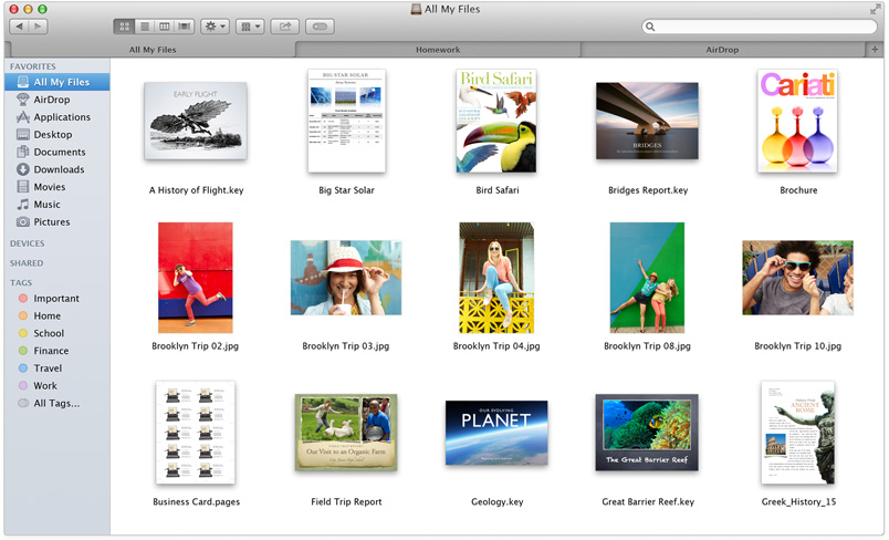 Finder Tabs của OS X 10.9 Mavericks