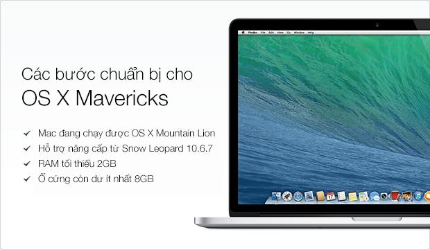 Danh sách kiểm tra trước khi cài đặt OS X 10.9 Mavericks