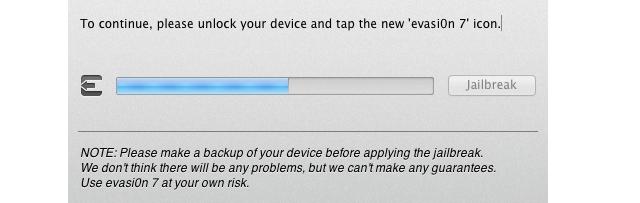 Evasi0n7 sẽ nhắc bạn nhấn vào biểu tượng Evasi0n7 trên iOS 7