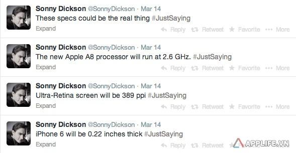 iPhone 6 trên Twitter của Dickson