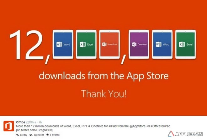 Thông báo trên Twitter của Microsoft về số lượng lượt tải bộ ứng dụng Office for iPad. (Nguồn: Twitter)