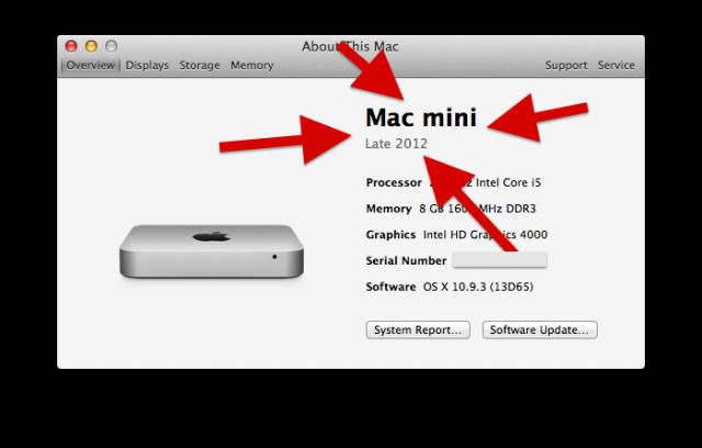 hững gì các bạn cần quan tâm là model máy và thời gian sản xuất, trong hình là Mac Mini và thời gian xuất xưởng là cuối năm 2012 (Late 2012).