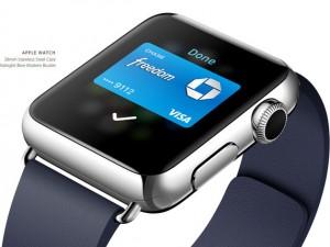 Apple Watch tích hợp đầy đủ tính năng thanh toán Apple Pay như trên bộ đôi iPhone 6. Công ty Cupertino cho biết, thiết bị đáp ứng các tiêu chuẩn bảo mật và người dùng hoàn toàn có thể dùng Apple Watch để thanh toán nhanh chóng tại các chuỗi bán lẻ thay vì dùng tiền mặt hay quẹt thẻ.