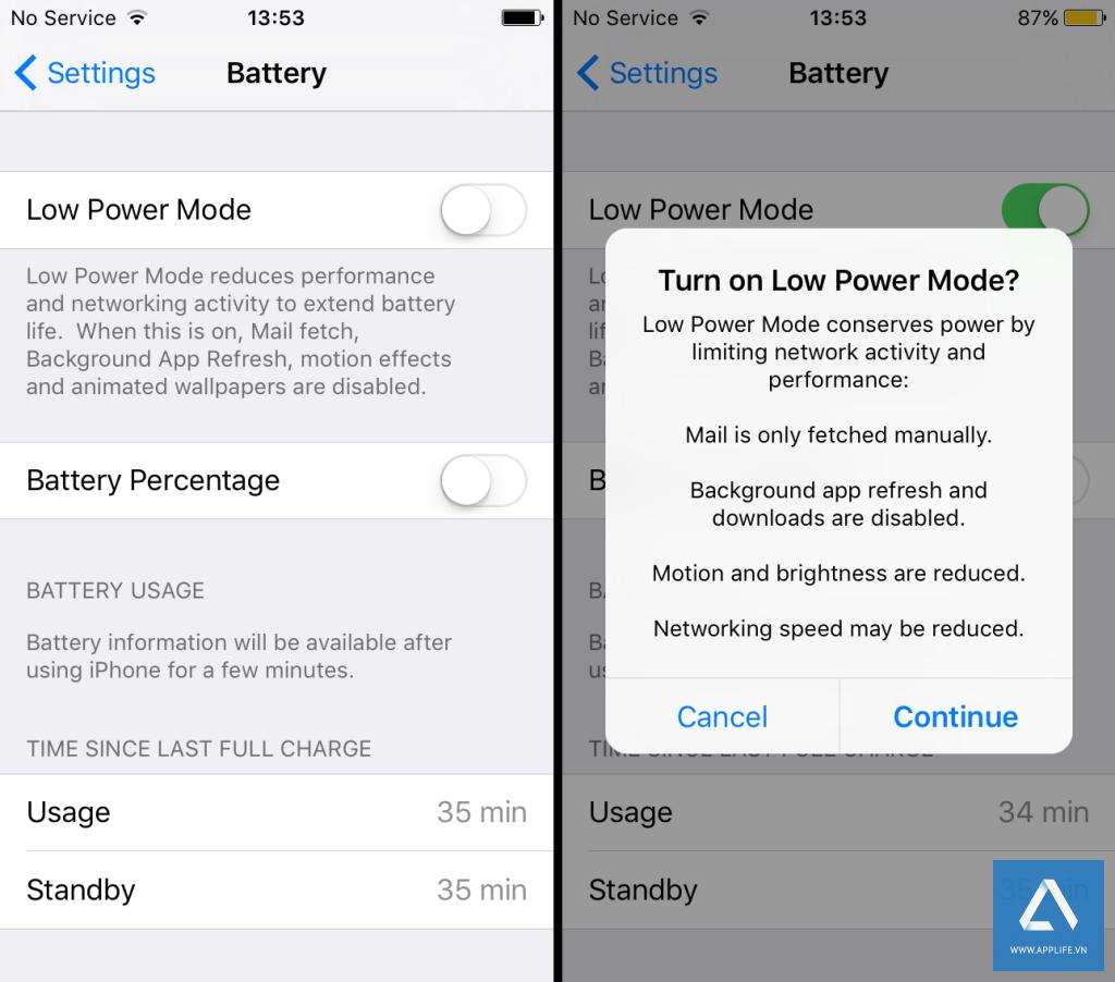 Chức năng Lower Power Mode của iOS 9