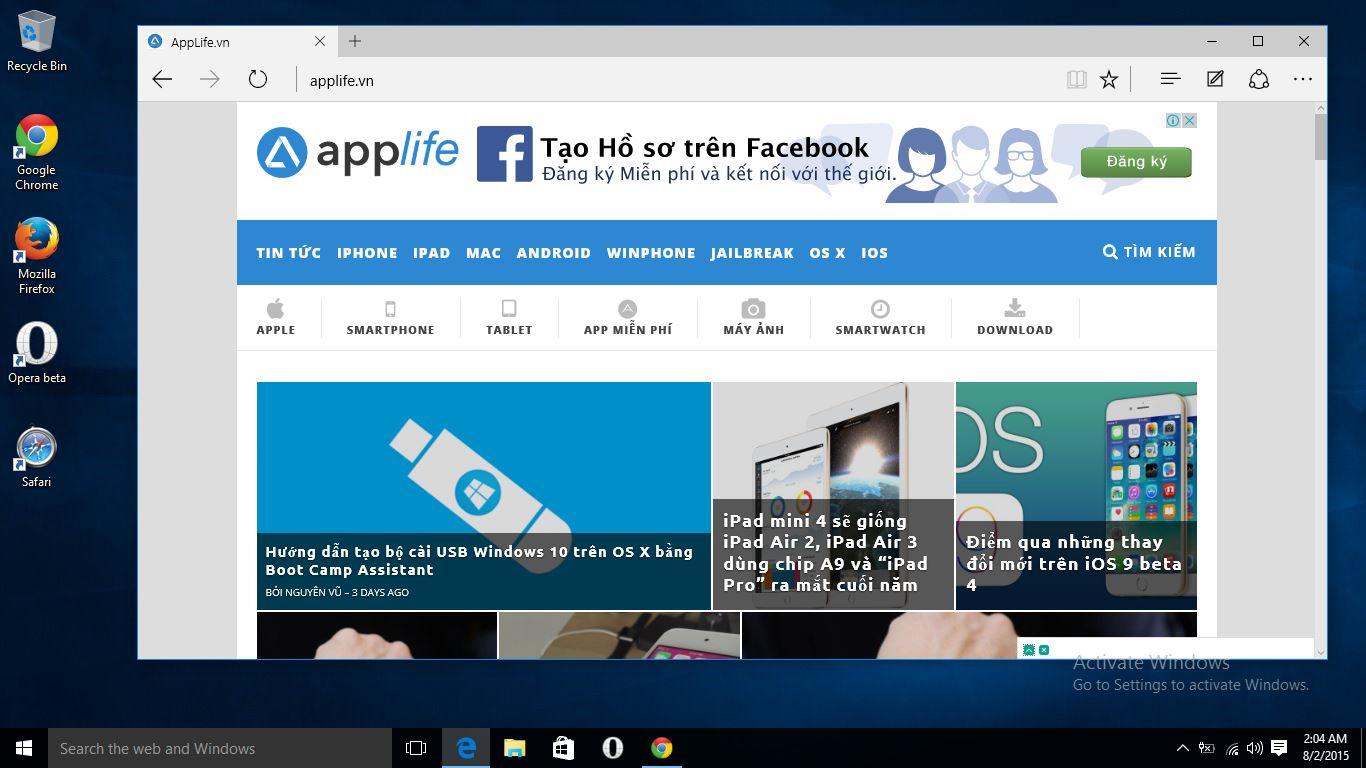 Microsoft Windows 10 On Edge