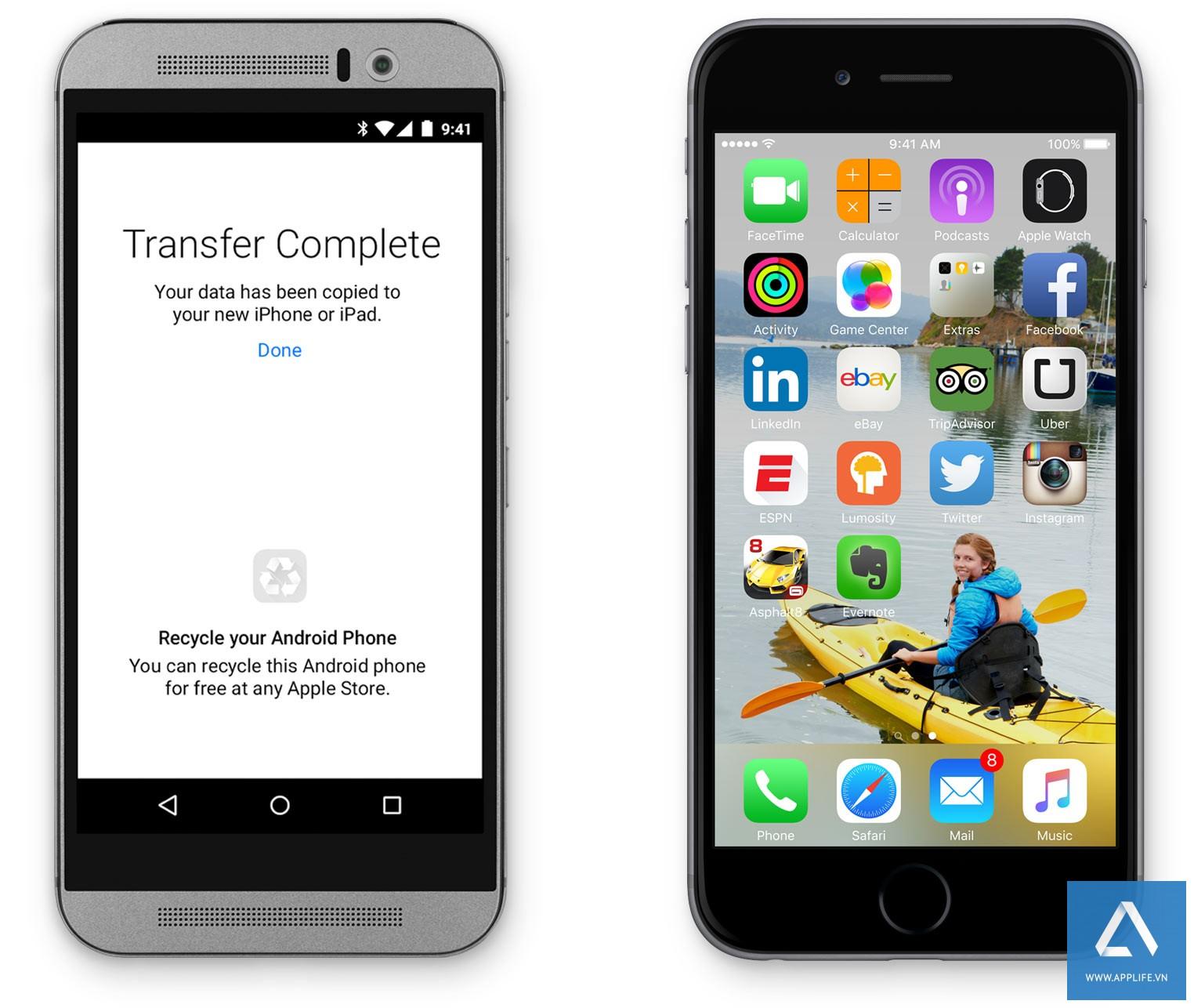 Ảnh chụp màn hình của ứng dụng Move to iOS cho Android (trái)