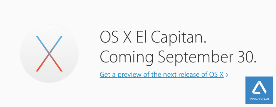 Hình ảnh nhắc nhở ngày phát hành OS X El Capitan trên trang chủ của Apple.