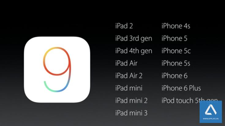 Danh sách thiết bị được iOS 9 hỗ trợ