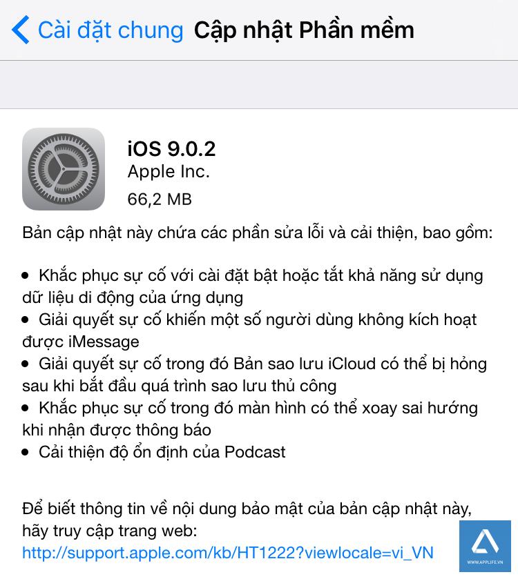 Thông tin về bản iOS 9.0.2 trong mục Cập nhật Phần mềm.