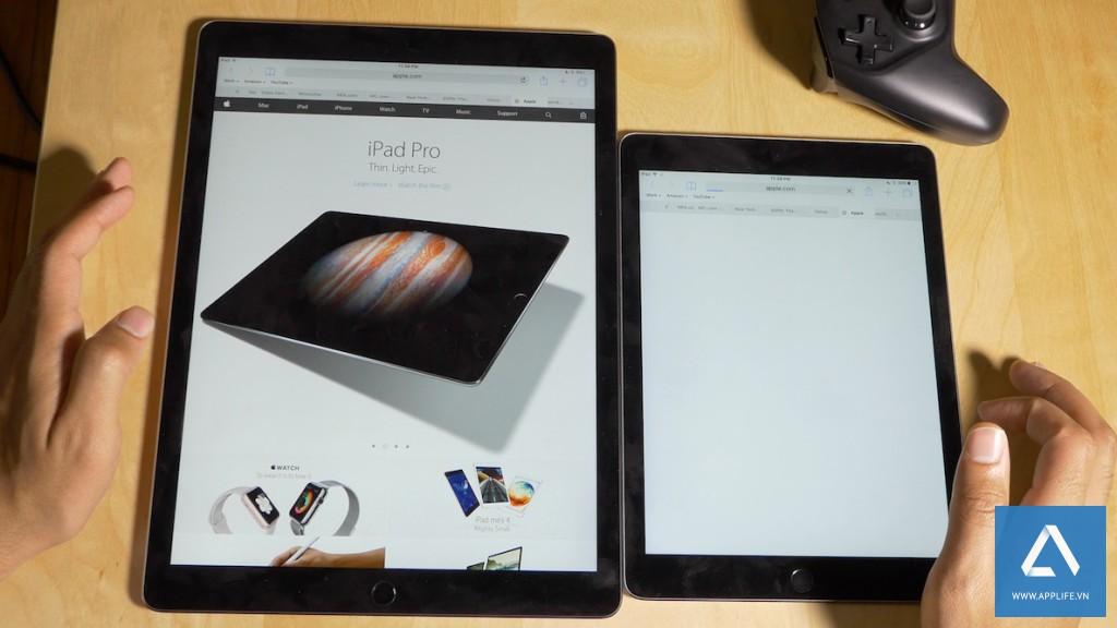 Thử nghiệm nạp tải trang giữa iPad Pro và iPad Air 2 do idownloadblog thực hiện.