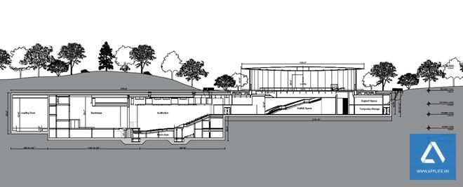 Bản vẽ thiết kế các phòng họp ngầm với sức chứa 1.000 chỗ ngồi, nối kết với không gian chính trên mặt đất - Ảnh: Wired