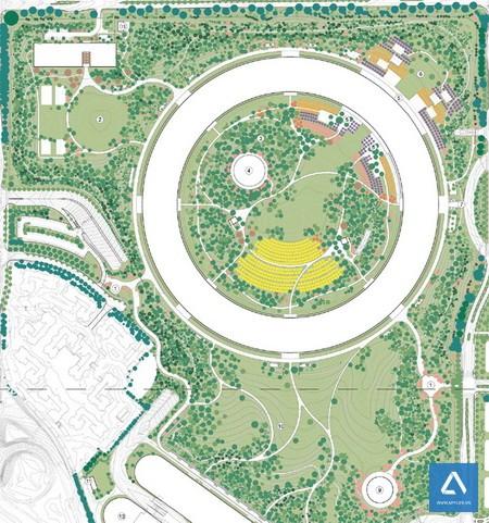 Vị trí các loại cây được chấm theo màu trên bảng vẽ thiết kế khuôn viên Phi thuyền - Ảnh: City of Cupertino