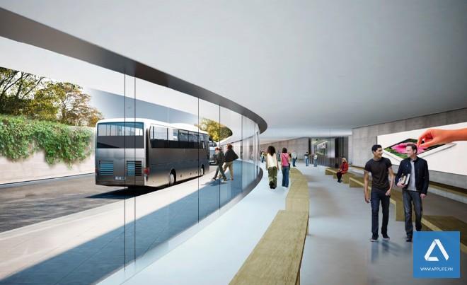 Xe buýt đưa đón nhân viên theo các trạm trong không gian chung của Phi thuyền - Ảnh: Wired