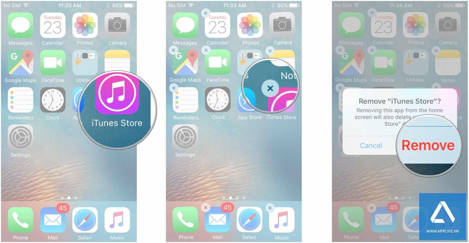 Các bước tuần tự để xóa ứng dụng mặc định trên iOS 10