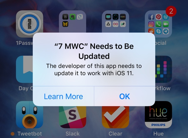 "Thông điệp cảnh báo: ""The developer of this app needs to update it to work with iOS 11"""