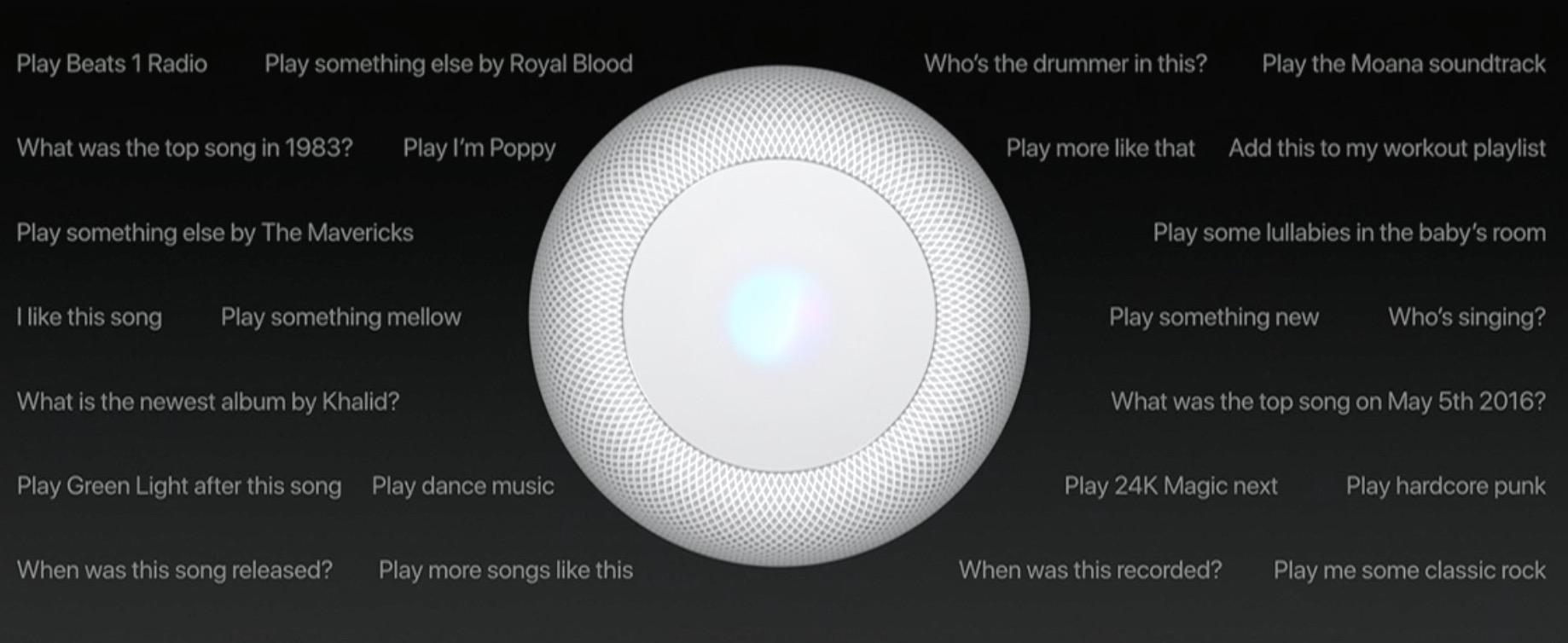 Những câu truy vấn mà người dùng có thể nói với HomePod