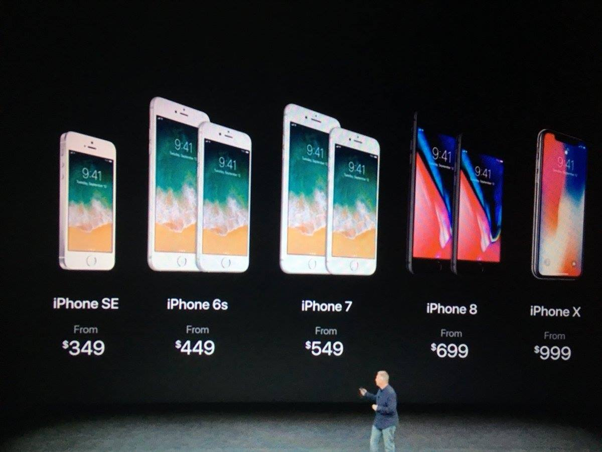 Bảng giá iPhone SE, iPhone 6s, iPhone 7, iPhone 8 và iPhone X mới nhất 2017