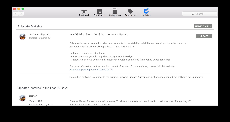 Apple phát hành bản vá lỗi quá trọng Supplemental Update cho macOS High Sierra 10.3