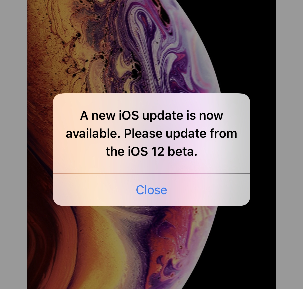 iOS 12 error message