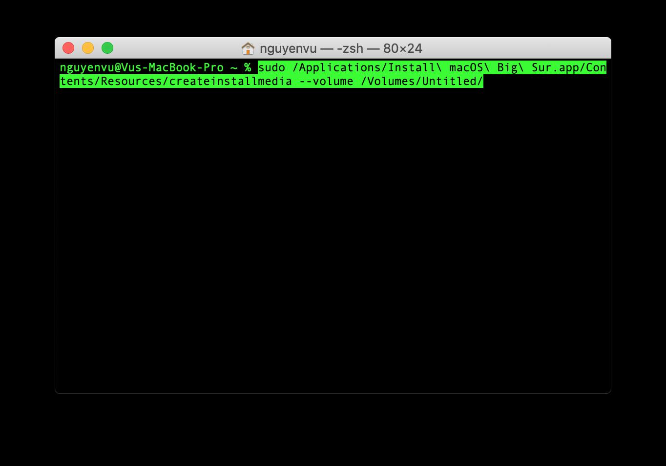 Tạo bộ cài USB macOS Big Sur
